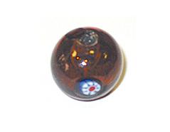15213 Z15213 Cuenta de vidrio bola con dibujo transparente ambar Innspiro