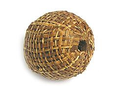 Z16513 16513 Cuenta madera bola forrada con tela marron Innspiro