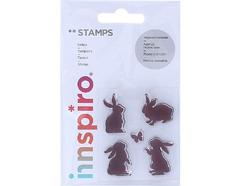 17304 Set sellos acrilicos Conejos y mariposa 5 3x6cm Innspiro