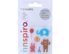 17309 Set sellos acrilicos Animales y otros 5 3x6cm Innspiro