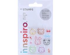 17310 Set sellos acrilicos Caras animales 5 3x6cm Innspiro