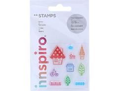 17311 Set sellos acrilicos Casa y jardin 5 3x6cm Innspiro