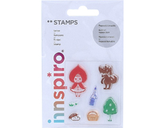 17313 Set sellos acrilicos Cuento Caperucita roja 5 3x6cm Innspiro