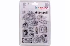 17334 Set sellos acrilicos Vacaciones en la carretera 14x18cm Innspiro