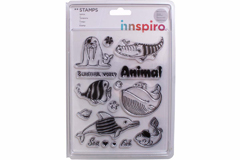 17365 Set sellos acrilicos Animales mar y peces 14x18cm Innspiro