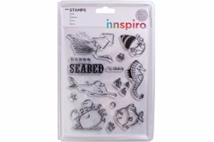 17368 Set sellos acrilicos Animales fondo marino 14x18cm Innspiro