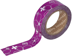 17402 Cinta masking tape Washi foil flores rosa 15mm x10m Innspiro