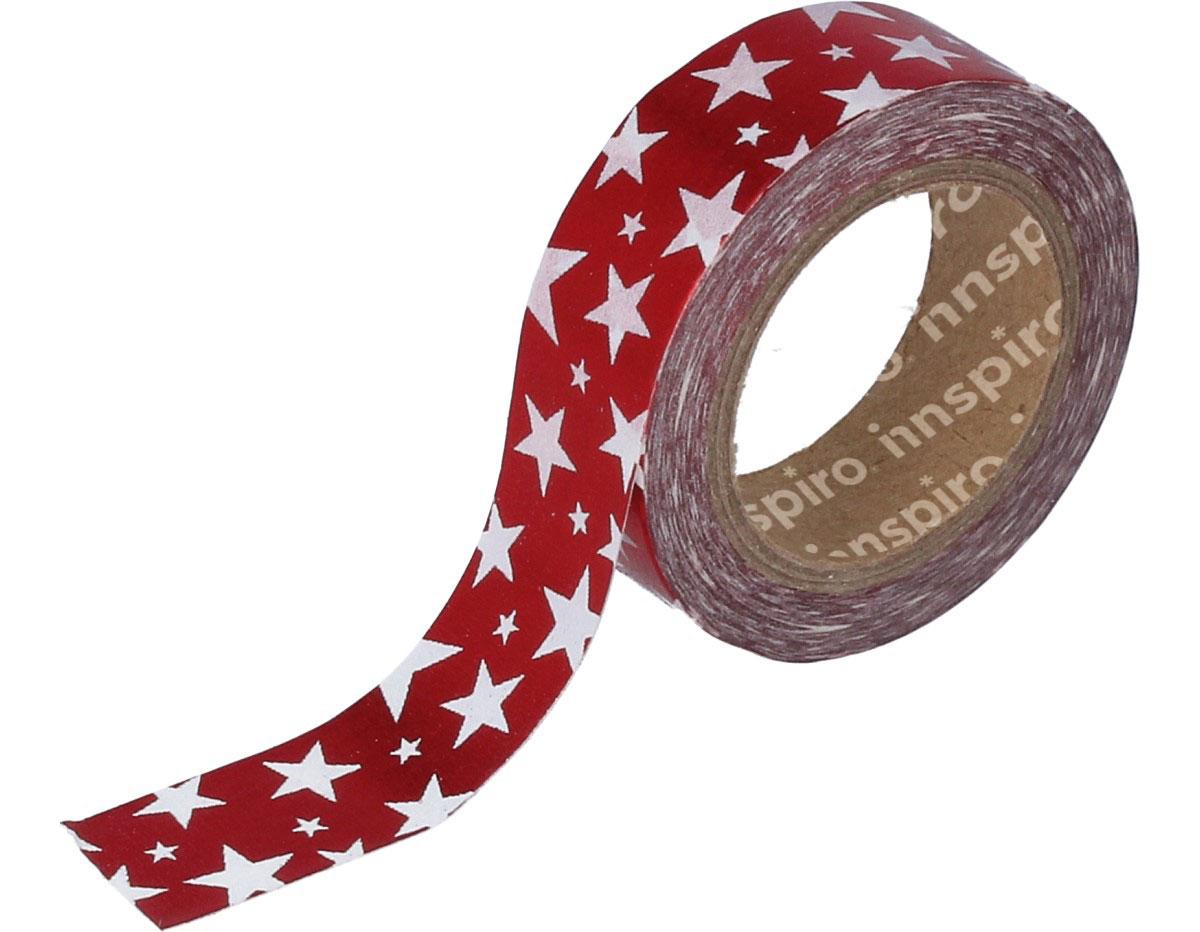 17405 Cinta masking tape Washi foil estrellas rojo 15mm x10m Innspiro