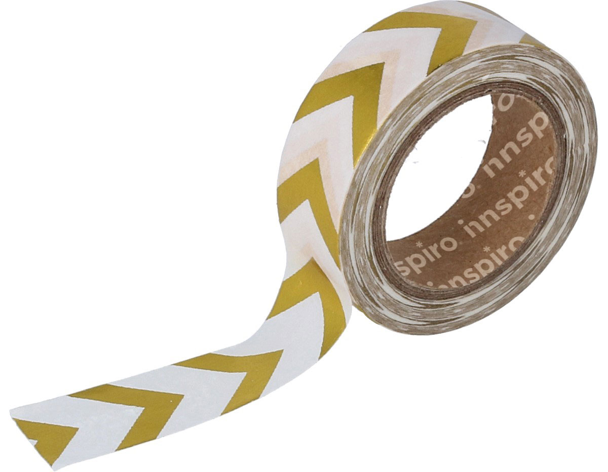 17409 Cinta masking tape Washi foil flechas dorado 15mm x10m Innspiro