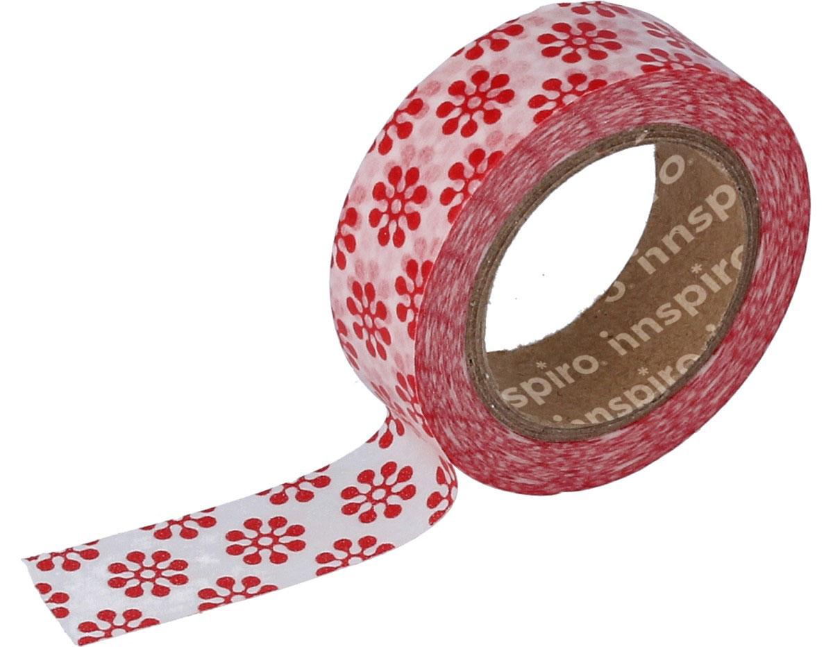 17435 Cinta masking tape Washi flores rojas 15mm x10m Innspiro