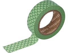 17437 Cinta masking tape Washi escamas verde 15mm x10m Innspiro