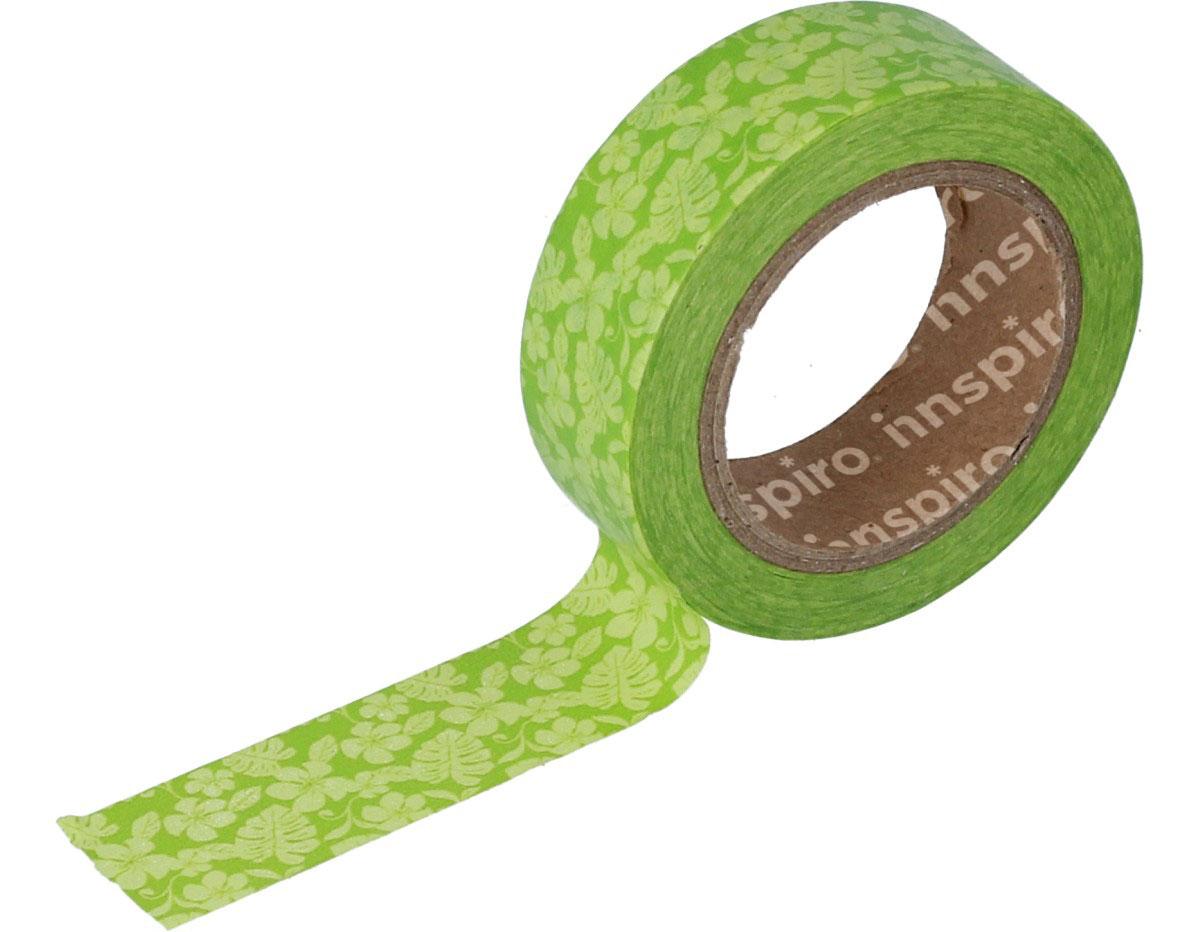 17438 Cinta masking tape Washi flores verdes 15mm x10m Innspiro
