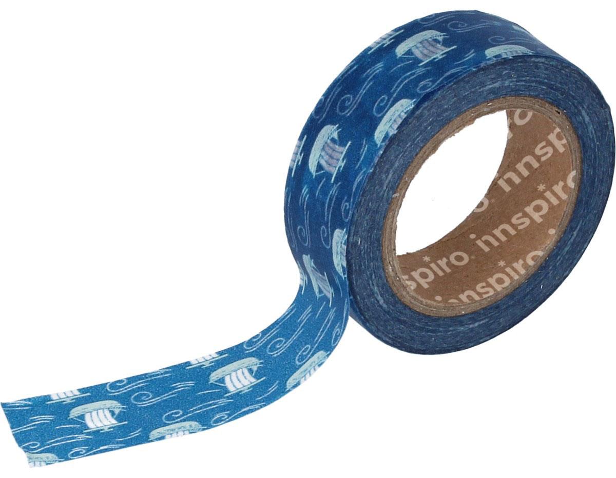 17445 Cinta masking tape Washi barcos azul 15mm x10xm Innspiro