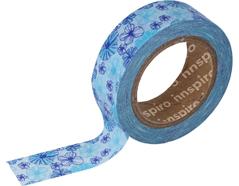 17450 Cinta masking tape Washi flores azul 15mm x10xm Innspiro