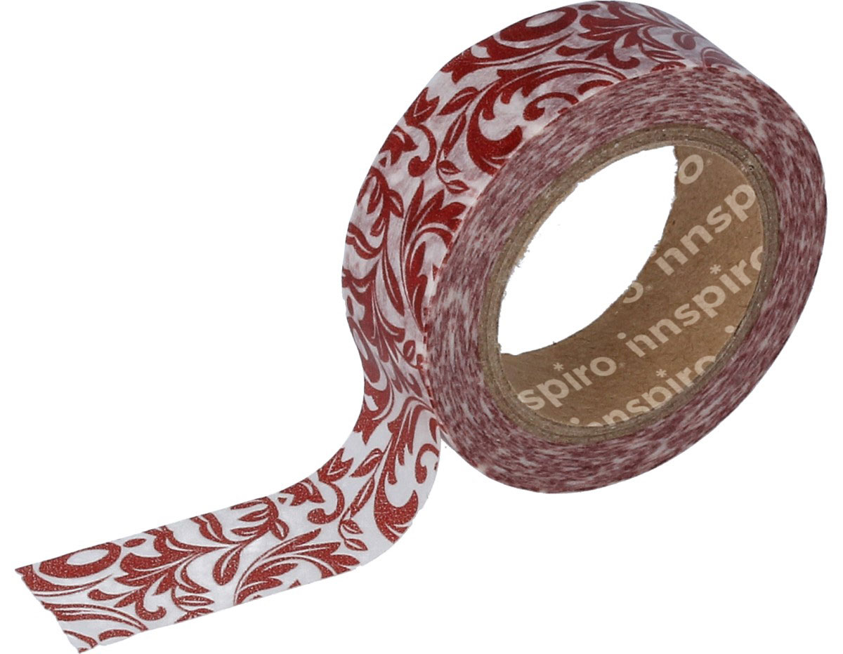 17454 Cinta masking tape Washi arabescos rojo 15mm x10m Innspiro