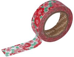 17456 Cinta masking tape Washi flores rojas y rosas 15mm x10m Innspiro