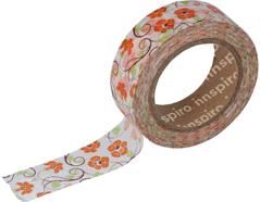 17457 Cinta masking tape Washi flores naranjas 15mm x10m Innspiro