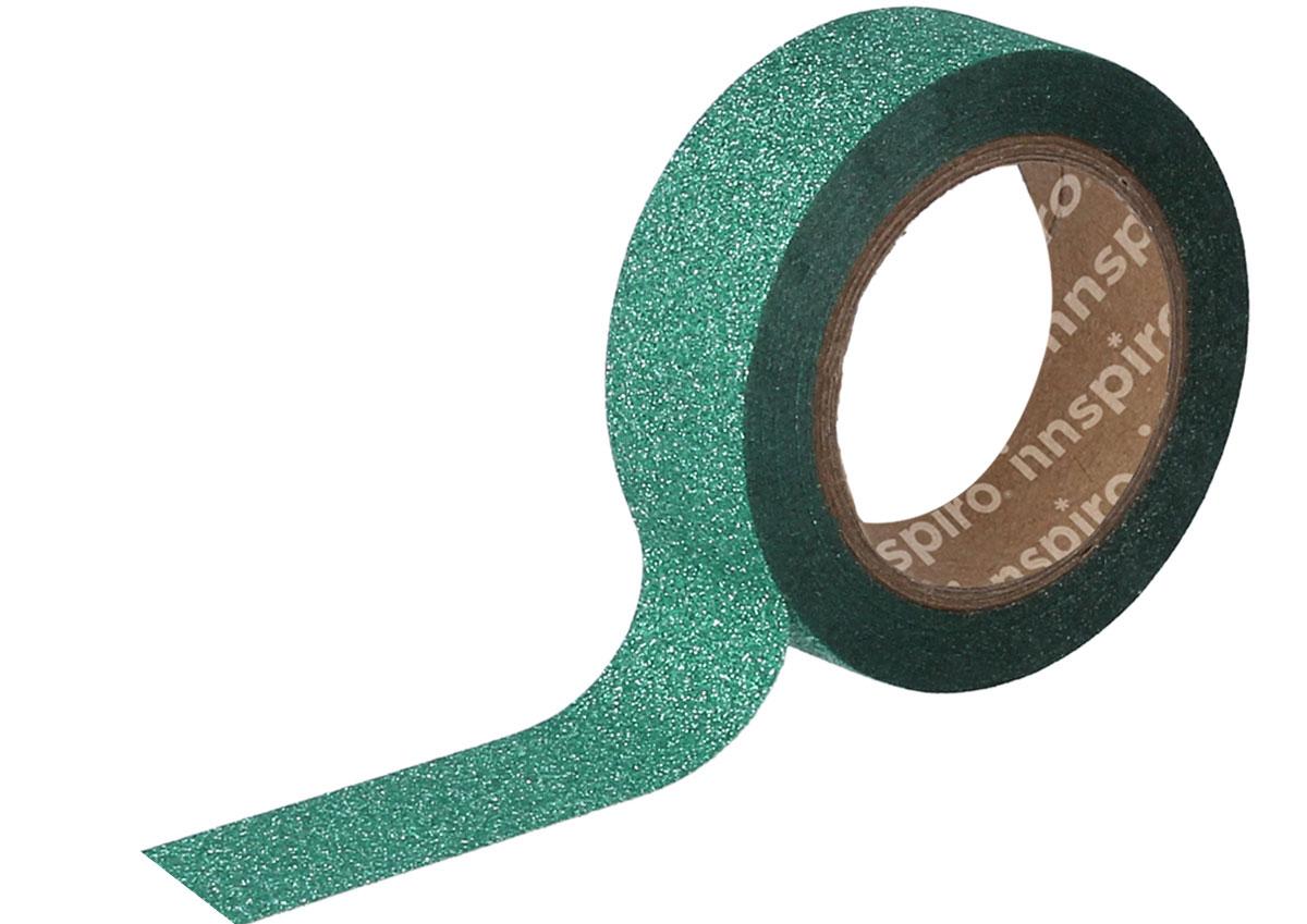 17474 Cinta masking tape purpurina verde 15mm x6 5m Innspiro