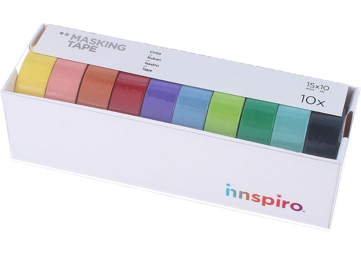 17510 Set 10 cintas masking tape Washi Serie lisos basicos Innspiro