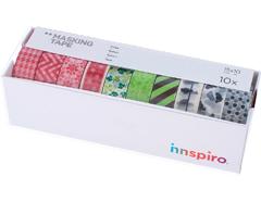 17511 Set 10 cintas masking tape Washi Serie lisos basicos Innspiro