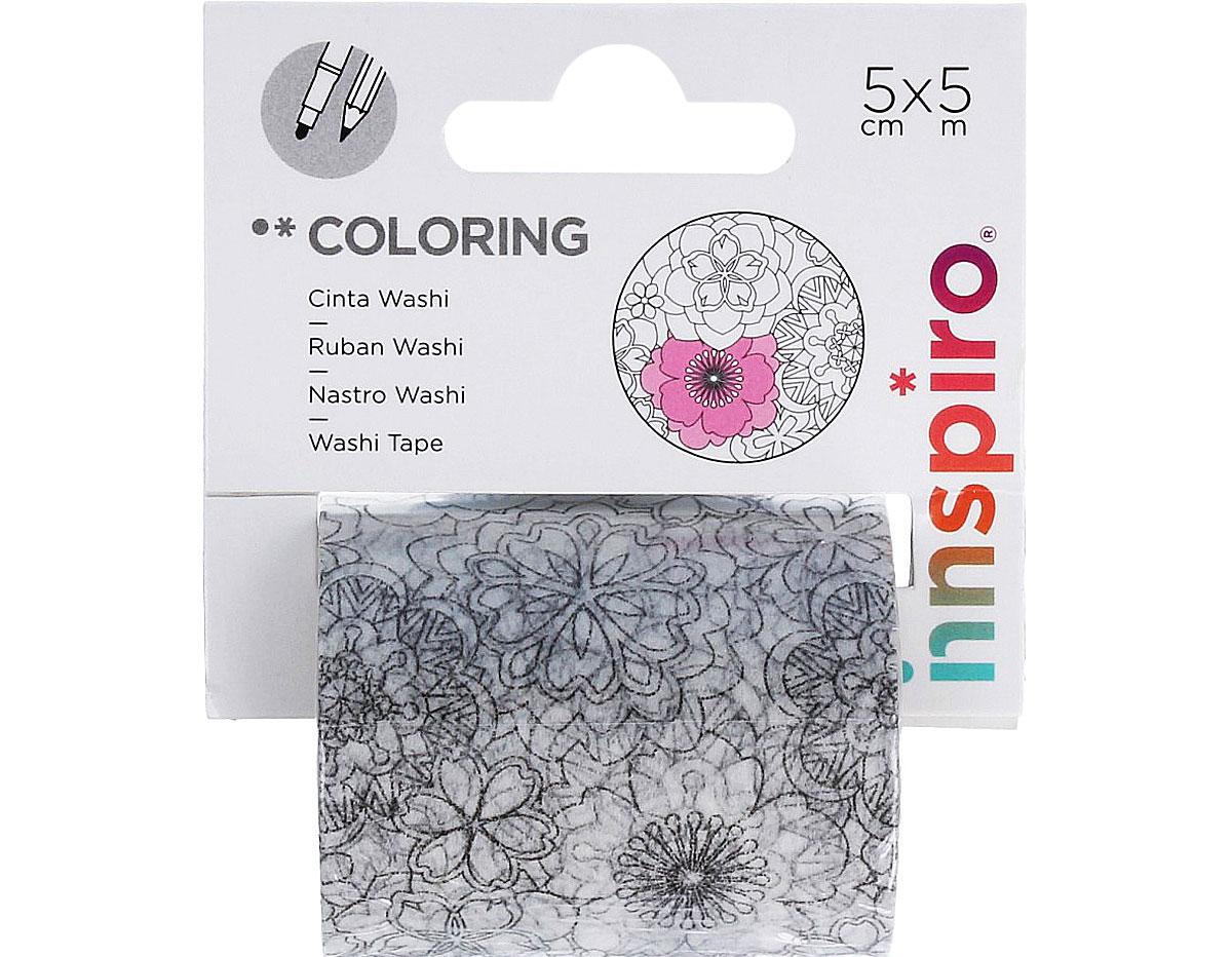 18201 Cinta washi tape para colorear COLORING Floral Innspiro