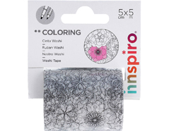 18201 Cinta washi tape para colorear COLORING Floral Innspiro