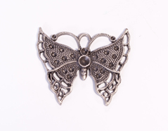 204153 Figura montaje metalica mariposa plateado envejecido para incrustar Innspiro
