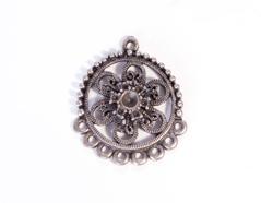 204156 Figura montaje metalica flor plateada envejecida para incrustar Innspiro