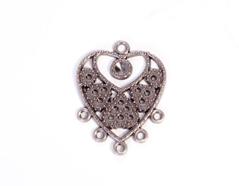 204158 Figura montaje metalica corazon plateada envejecida para incrustar Innspiro