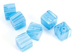 21101 Z21101 Cuenta de vidrio milflores cubo azul cielo Innspiro