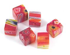 21102 Z21102 Cuenta de vidrio milflores cubo rojo Innspiro