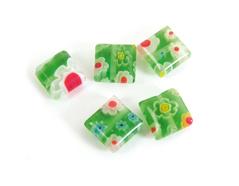 Z21203 Z21223 21203 21223 Cuenta de vidrio milflores cuadrado verde Innspiro