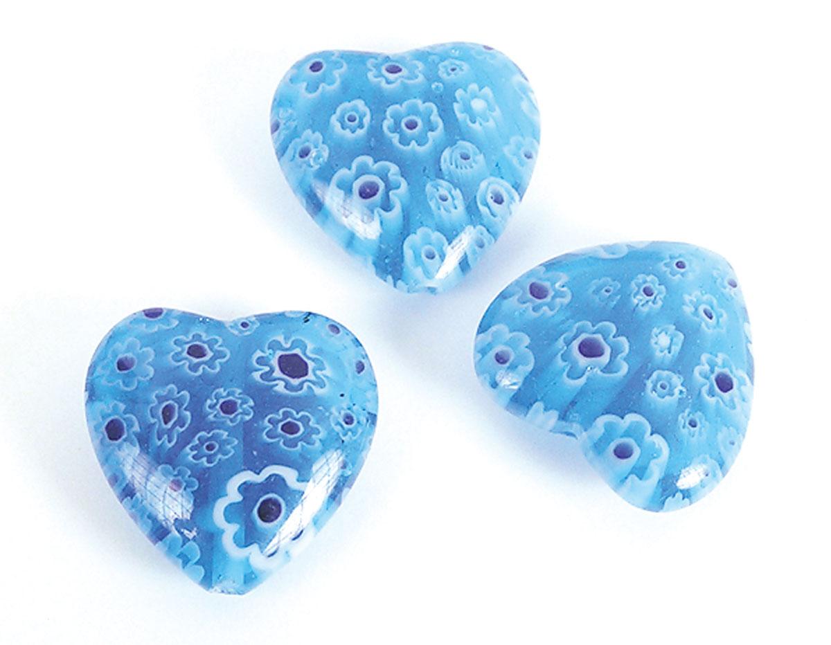 21251 Z21251 Cuenta de vidrio milflores corazon azul cielo Innspiro