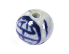 Z213502 213502 Cuenta ceramica bola esmaltada blanca con flor azul Innspiro