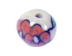 Z213503 213503 Cuenta ceramica bola esmaltada blanca con flor verde y roja Innspiro