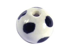 213504 Z213504 Cuenta ceramica bola esmaltada blanca con topos negros Innspiro