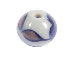 Z213505 213505 Cuenta ceramica bola esmaltada blanca con flores azules Innspiro