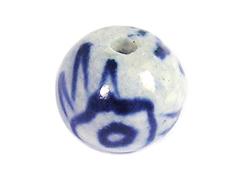 213506 Z213506 Cuenta ceramica bola esmaltada blanca con flor azul Innspiro