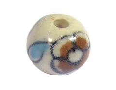 Z213510 213510 Cuenta ceramica bola esmaltada blanca con flor naranja Innspiro