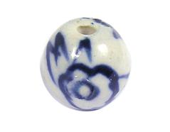 Z213511 213511 Cuenta ceramica bola esmaltada blanca con flor azul Innspiro