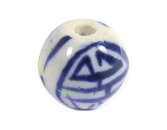 Z213514 213514 Cuenta ceramica bola esmaltada blanca con lineas azules Innspiro