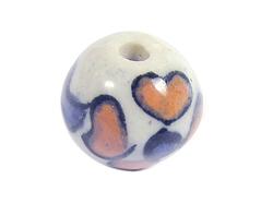 Z213515 213515 Cuenta ceramica bola esmaltada blanca con flor naranja y azul Innspiro