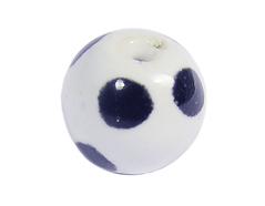 Z213516 213516 Cuenta ceramica bola esmaltada blanca con topos negros Innspiro