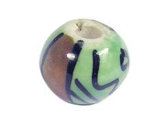 213518 Z213518 Cuenta ceramica bola esmaltada blanca con flor verde y linea marron Innspiro