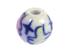 213521 Z213521 Cuenta ceramica bola esmaltada blanca con flor roja y azul Innspiro