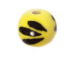 213523 Z213523 Cuenta ceramica bola esmaltada amarilla con dibujo negro Innspiro