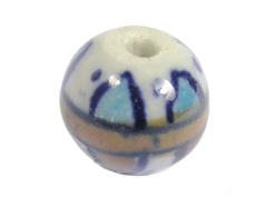 Z213524 213524 Cuenta ceramica bola esmaltada azul y marron Innspiro