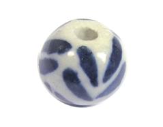 Z213525 213525 Cuenta ceramica bola esmaltada blanca con lineas azules Innspiro