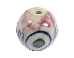 213529 Z213529 Cuenta ceramica bola esmaltada blanca con topos verdes y lineas azules Innspiro