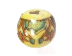 213530 Z213530 Cuenta ceramica bola decorada amarilla con dibujo marron y azul Innspiro